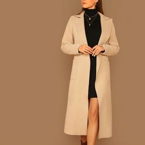 H&M Solid Long Self Tie Trench Coat